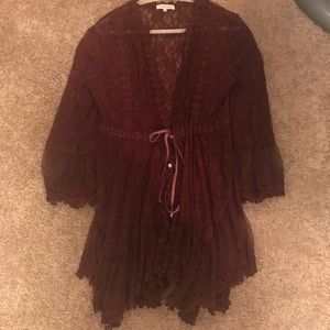 Burgundy lace tunic